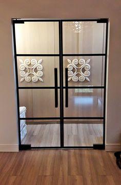 Drzwi Loftowe - Industrialne | Drzwi wewnętrzne - zabudowy szklane - drzwi loft - podłogi Mirror Door, Diy Home Crafts, Divider, Loft, Doors, Inspiration, Furniture, Home Decor, Nice