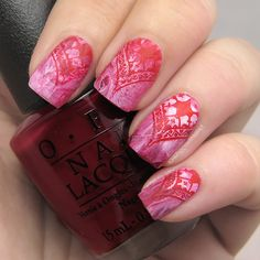ProcrastiNails: Nail Art: Red for #31DC2016 // Red Bandana Stamping with MoYou London and Konad