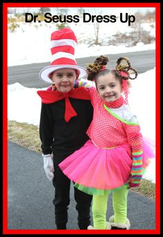 Dr. Seuss Dress Up Fun.  Twins. School Spirit.  The Cat In The Hat.