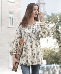 Fleura Tunic - floral, mixed-media tunic embellished with lace trim.