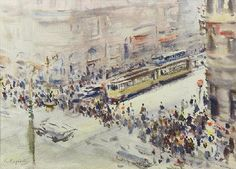 Konstantin Korovin (1861 — 1939, Russia) Street Scene with Figures, Cars and Trollies.   watercolor. 9.5 х 12.75 in.