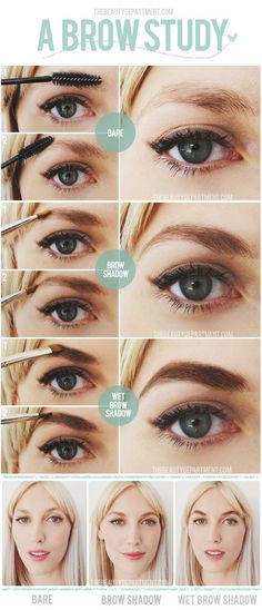 Wet your brow brush for a bolder look when using powder. | 16 Eyebrow Diagrams That Will Explain Everything To You