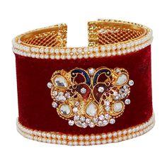 Maroon Alloy Austrian Diamonds Bangle 65973