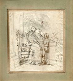 Galerie Nord: Dessin d'Héloïse Colin (1820-1873). Plume et lavis brun. Dimensions 17 X 15. Héloïse Colin est la fille du peintre Alexandre Colin. Elle épouse Auguste Leloir dont elle aura deux enfants : l'illustrateur Maurice Leloir, et le peintre Alexandre-Louis Leloir. Elle expose ses dessins au Salon de 1835. Elle est une illustratrice réputée de la mode parisienne du milieu du 19ème siècle.