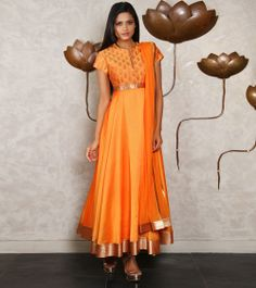 Orange Chanderi Silk Anarkali Suit with Kasab Embroidery
