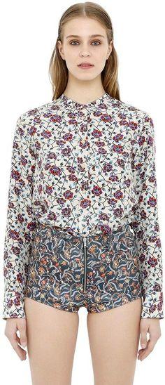 Isabel Marant Floral Printed Silk Satin Flowy Top