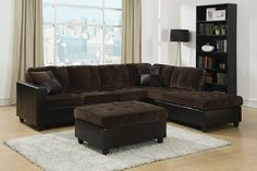 "2 pc Mallory collection 2 tone chocolate padded textured fabric and leather like vinyl upholstered sectional sofa with reversible chaise. This set features a reversible chaise with pocket coil seating . Sectional measures 107.5"" x 83"" L chaise x 33"" H. Some assembly required. SKU 	CST505645"