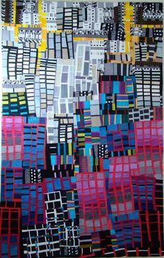 Sunrise in the City - Connie Carrington - it's a quilt, but it'd be a cool painting! how about map of winnipeg with different colors for different incomes? Map Quilt, Quilt Blocks, Quilt Art, Textiles, Textile Fiber Art, Textile Artists, Landscape Quilts, Contemporary Quilts, Art Design