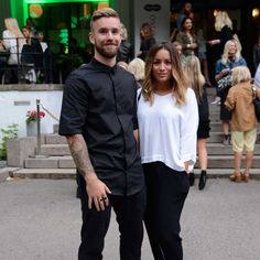 Stian Blipp wearing Tom Wood shirt and rings, seen with his lovely girlfriend Jamina at Oslo Runway.