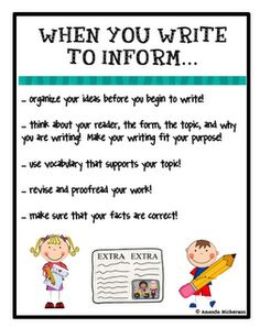 Informative/Explanatory Writing CCSS Grades 3-5 | Informative writing