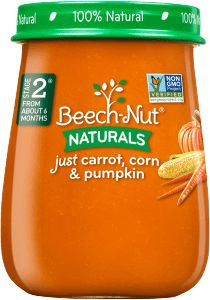 Enjoy fall flavors year-round in this blend of corn, pumpkin and carrot. Try Beech-Nut® Naturals carrots, sweet corn & pumpkin stage 2 baby food jars today. Cereal Recipes, Baby Food Recipes, Banana Baby Food, Baby Food Combinations, Baby Cereal, Baby Food Jars, Sweet Corn, Sweet Potato, Toddler Snacks
