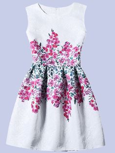 Flower Print Fit & Flare Sleeveless Dress - White -SheIn(Sheinside) Mobile Site