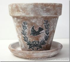 DIY Aged Pots with a Vintage Image - Sweet Pea