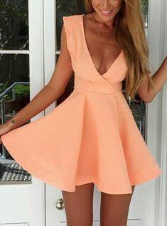 Pink Deep V Neck Sleeveless Flare Dress