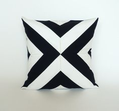 Geometric Pillow - Black and White Triangle Pillow Cover - Geometric Abstract Design