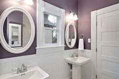 Love this purple/grey color with the white. Thinking of changing my bathroom colors