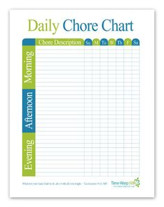 Free Printable!! Daily Chore Chart - Time-Warp Wife
