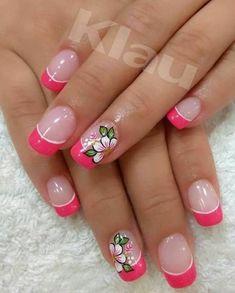 Pedicure Designs, Cool Nail Designs, Beautiful Nail Designs, French Manicure Nails, French Tip Nails, Hawaiian Nails, Nagellack Design, French Nail Art, Nails Only