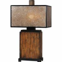 Uttermost - Uttermost Sitka Wood Table Lamp - Solid wood finished in a heavily distressed rustic mahogany with a light rottenstone glaze and aged black details. The rectangle box shade is made of natural mica with aged black trim. Rustic Table Lamps, Table Lamp Wood, Desk Lamp, Lamp Shade Store, Pipe Lamp, Unique Lamps, Modern Lamps, Bedroom Lamps, Master Bedroom