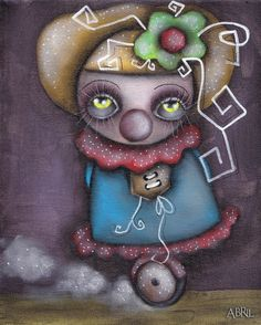 Clowning Around by Abril Andrade Big Eyes Toy Clown Canvas Art Print – moodswingsonthenet