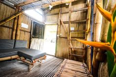 Escape 3 points ecolodge: Bungalow entirely built of bamboo and raffia with a sofa that can turn into a bed.  Self contained with double bed on the mezzanine. Dondoni means raffia or bamboo in Nzema language. Quoted rate is…