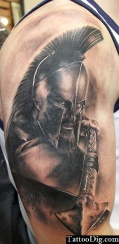 Spartan Warrior 300 Shoulder Tattoo 3D, i would like to get this to represent my dad | cute-tattoo