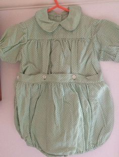 1950s baby romper green polka dots by SecondHandRoseWorc on Etsy Boy  Clothing 92954f5dce