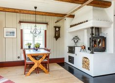 Swedish kitchen with cooking range / vedspis and fireplace