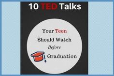 A Pinterest favorite! TED Talks to watch together and talk about...BEFORE your kids head out into the world.
