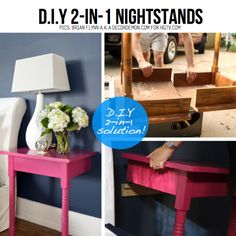 1 table = 2 nightstands  Navy walls, hot pink tables