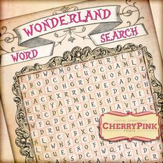 Alice in Wonderland WORD SEARCH digital party printable, instant download party game