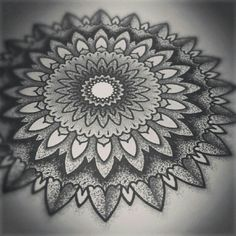 dotworklove:  Couldn't stay away from instagram and mandalas. #dotwork #mandala #drawing
