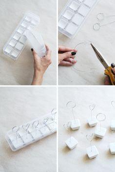 DIY Marble Dipped Photoholders – Enter My Attic - Basteln Mit Beton Plaster Crafts, Concrete Crafts, Cute Crafts, Diy And Crafts, Arts And Crafts, Polymer Clay Crafts, Diy Clay, Diy Marble, Diy Art