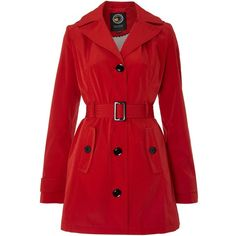 Halifax Traders Belted hooded light trench (68 AUD) ❤ liked on Polyvore featuring outerwear, coats, jackets, casacos, coats & jackets, red, women, sale, waterproof coat and red trenchcoat