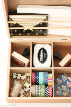 Create an organized box filled with all of your mailing essentials. From washi tape to stamps this is such an easy way to keep your snail mail all organized and in one spot. Love this cute wooden box!