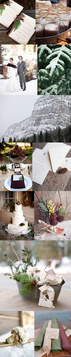 rustic elegance green and brown winter wedding inspiration board. i also love the map to show where to go...
