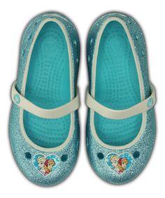 CROCS KEELEY FROZEN FLAT POOL BLUE GLITTER RELAXED FIT KIDS GIRLS PRINCESS SHOES