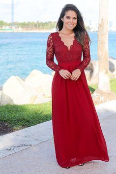 Burgundy Crochet Maxi Dress with Open Back