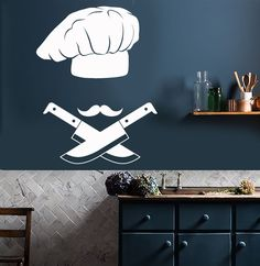 Vinyl Wall Decal Chef Hat Kitchen Decor Mustache Knives Stickers (2176ig)