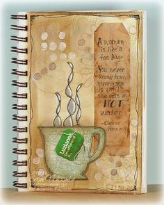 "Tea Bag full page via splashes of watercolor for eclectic paperie's ""a journaling we go series...inspired by words"""