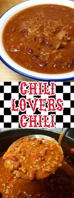 """We are pretty passionate about our Chili around here, this my friends is my contribution to the Chili world; enter my """"Chili Lovers Chili""""! It's rich, meaty, a little bit spicy, and oh so delicious! Beef Bean Chili Recipe, Best Chili Recipe, Chilli Recipes, Bean Recipes, Mexican Food Recipes, Soup Recipes, Cooking Recipes, Cooking Chili, Muffin Recipes"""