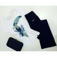 T-shirt Cantão Estampa Tucano + Calça Flare Marinho Ambicione + Clucth de Couro Tricê {♡}   #weloveit #news #inverno15 #trend #winter15 #provadorfashion #euqueroo #inlove #lançamento #cantão