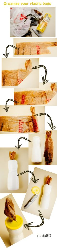 Organizing your plastic bags in Puffs container. http://nacasadeanna.blogspot.com/