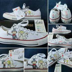 Converse sposa... dipinte a mano personalizzate uniche e originali! Informazioni 3801405779 o pagina fb Clotyfa & LaurArt