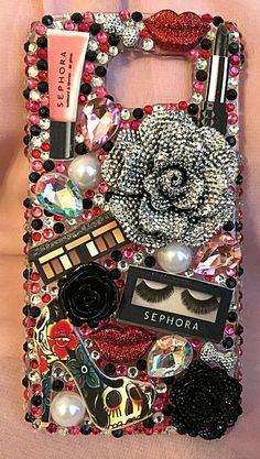 Makeup bling phone case bling flower case by livelaughshine