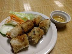 Cha gio. Pork wrapped in rice paper and deep fried.