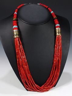 Tommy Singer (Navajo) coral necklace