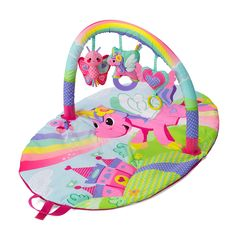 Infantino Sparkle Explore and Store Activity Gym Unicorn. Age grade 0-6 months. Play mat folds for easy storage and travel. Easy-tote handles for carry and travel. Crinkle fabrics, clacker rings and BPA-free textured teether. Machine washable mat; Product Dimensions (in inches): 20.0 x 18.0 x 3.0.
