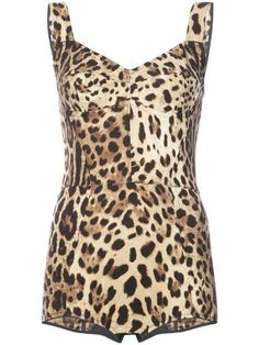 GABRIELLE'S AMAZING FANTASY CLOSET | Dolce & Gabbana Leopard Print Bustier Bodysuit. Full Coverage | Composition: Spandex/Elastane 10% Composition Silk 66% Composition Nylon 24% | You can see the rest of the Outfit and my Remarks on this board. - Gabrielle