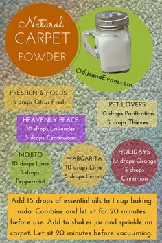 Easy homemade carpet deodorizer powder infused with essential oils. Sprinkle before vacuuming. If you must use a carpet powder this is the best route! Homemade Deodorant, Cleaners Homemade, Diy Cleaners, Household Cleaners, Homemade Cleaning Products, Natural Cleaning Products, Natural Cleaning Recipes, Natural Products, Homemade Carpet Powder